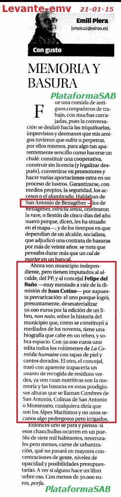Levante 21 enero 2015 Opinion Emili Piera memoria y Basura r
