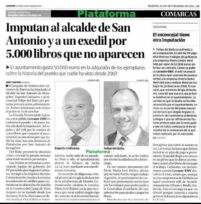 Levante-emv IMPUTACION CAÑIZARES DEL BAÑO 23 septiembre 2014 página 19