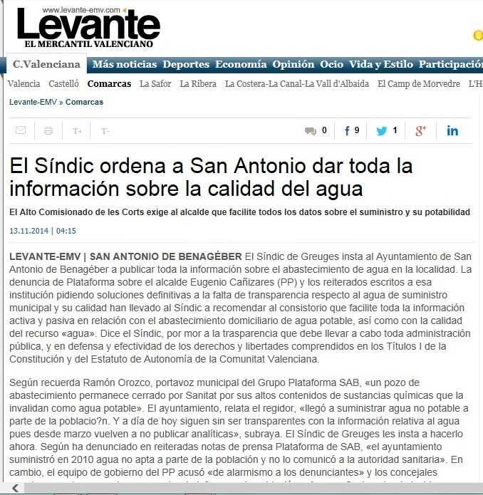 Levante-emv Sindic ordena info agua a ayto SAB 13 noviembre 2014