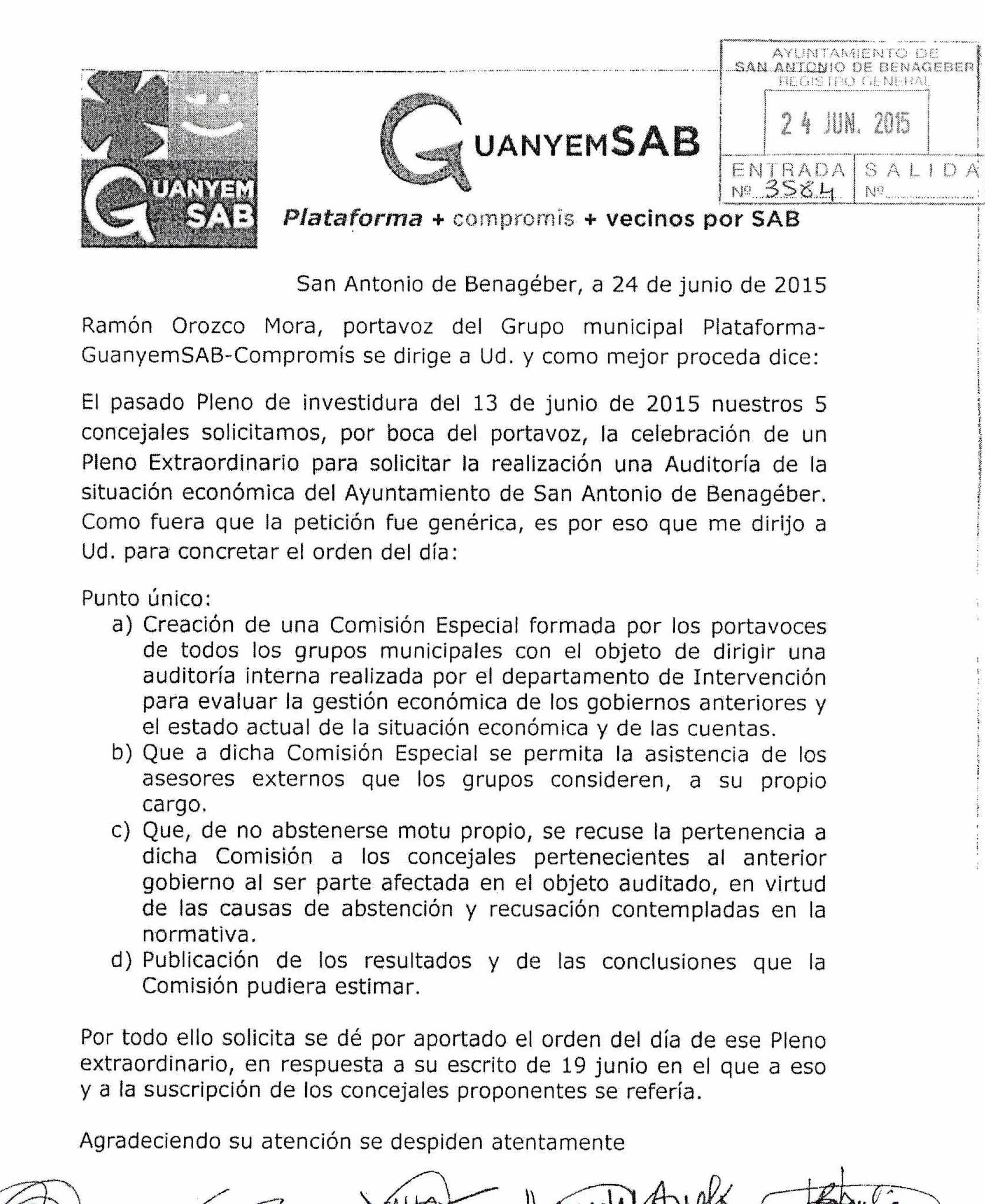 PETICIÓN GUANYEMSAB PLENO EXTRAORDINARIO AUDITORÍA INTERNA