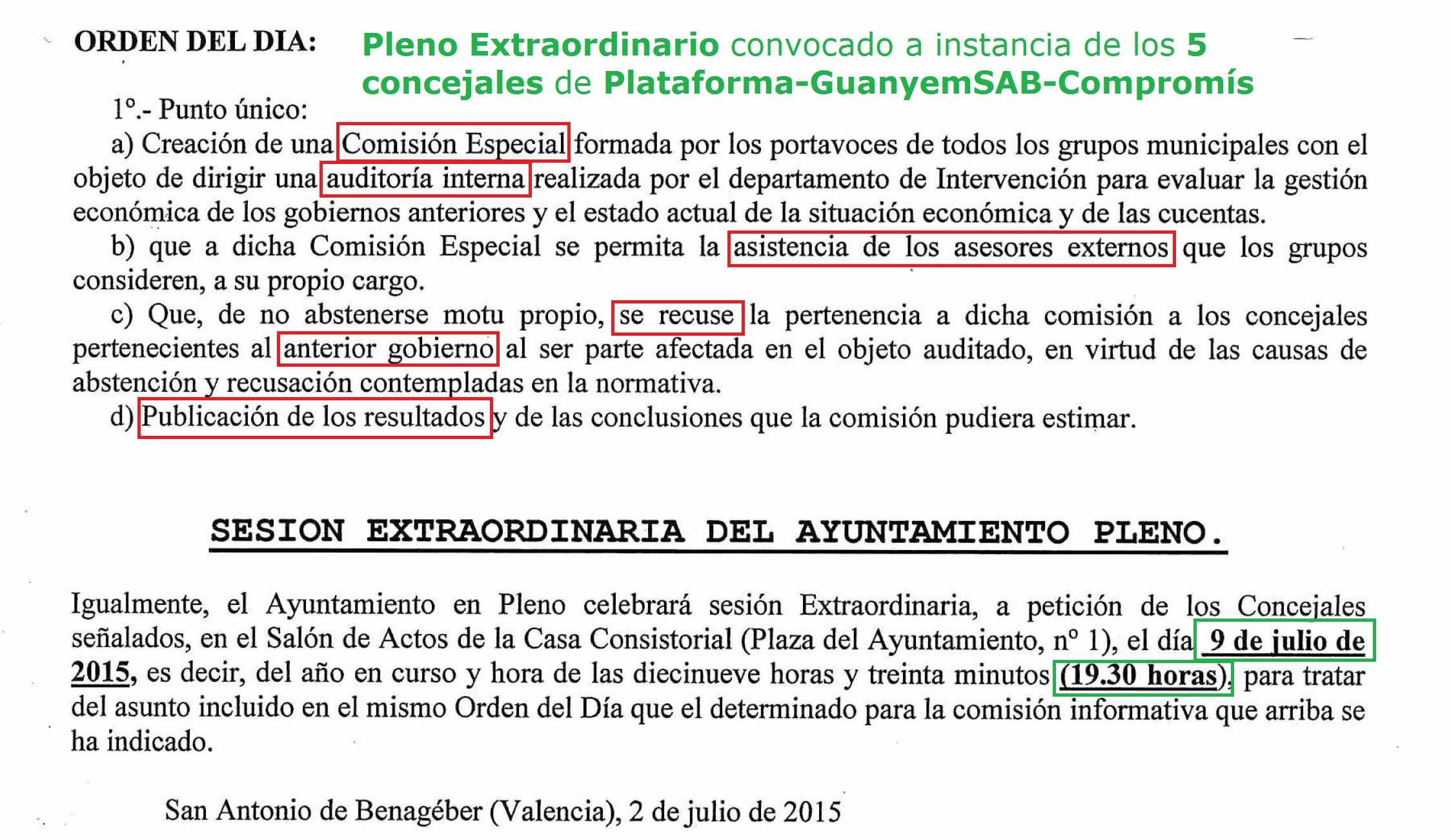 Pleno Extraordinario AUDITORIA 9 julio 2015