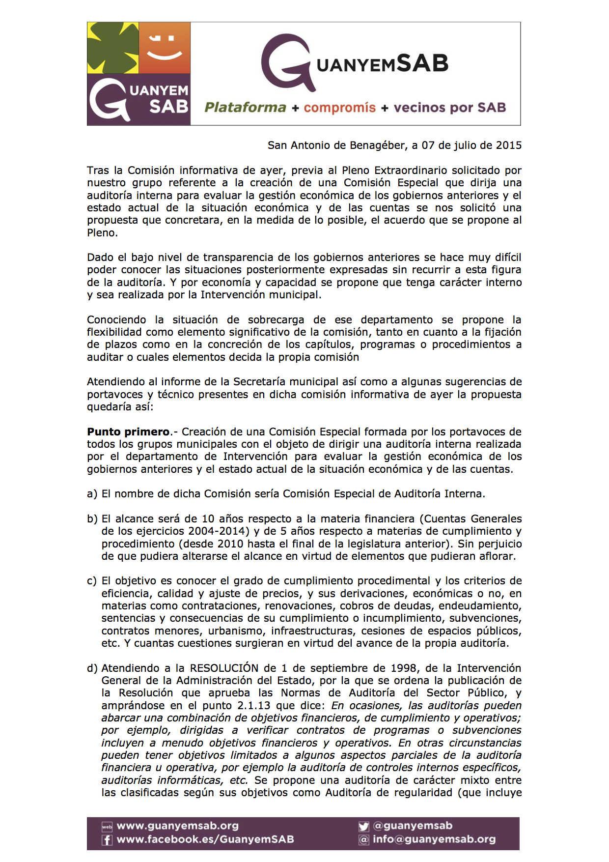 Propuesta de acuerdo Pleno extr. Auditoria 24 junio 2015