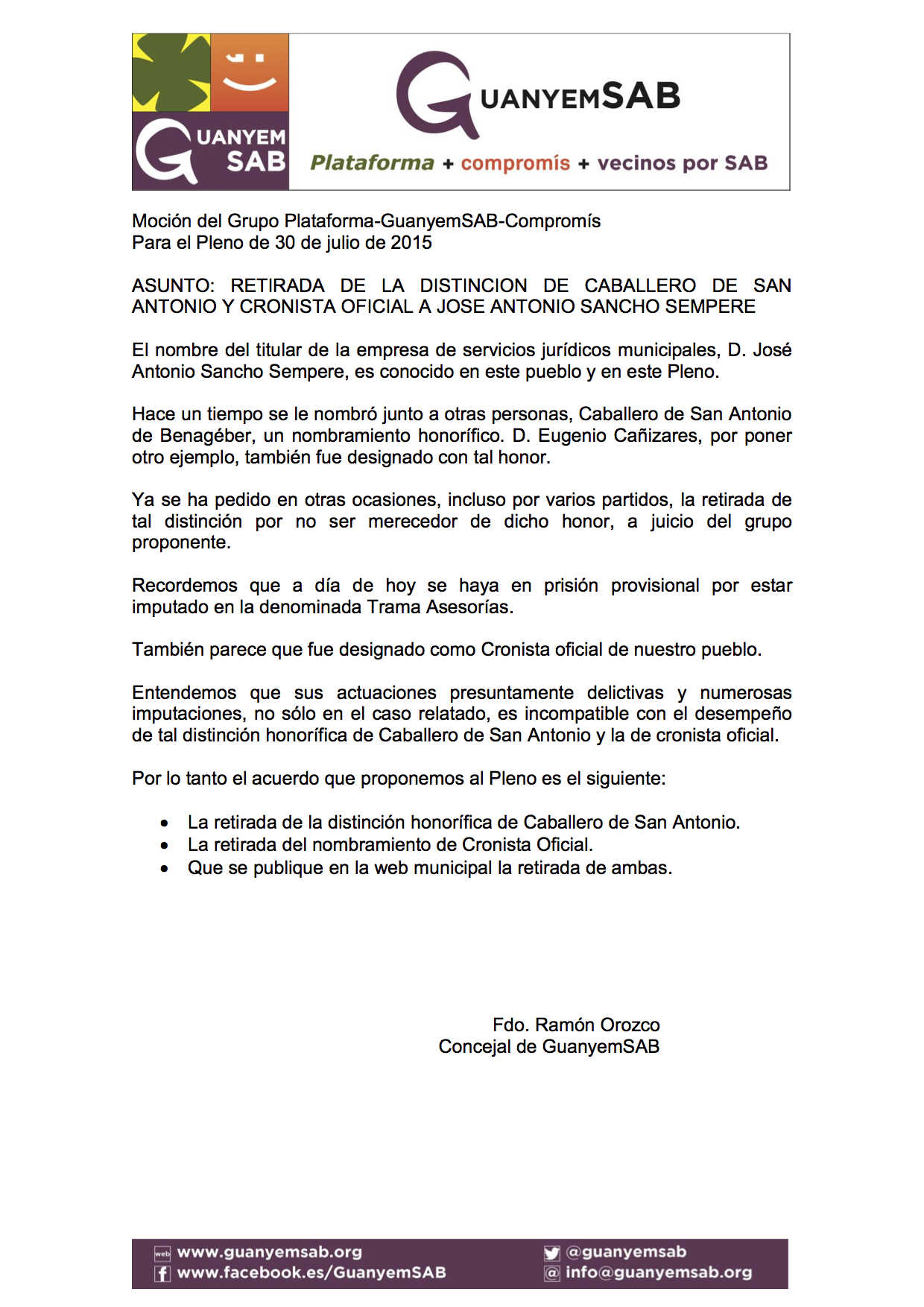 Moción sobre Retirada distinción Caballero de San Antonio a Sancho