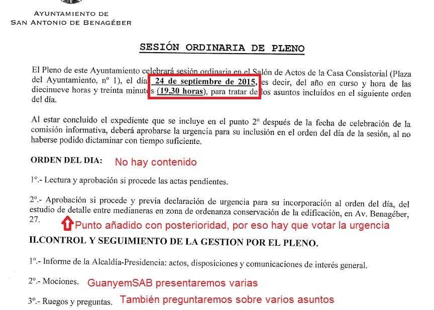 Convocatoria Pleno Ordinario 24 septiembre 2015