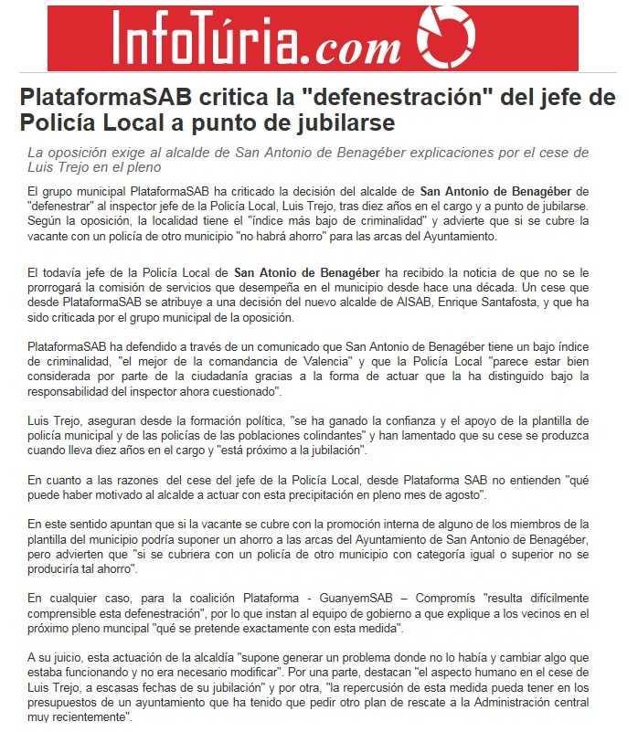 Defenestración del Jefe de Polica Local - Infoturia 10 septiembre 2015