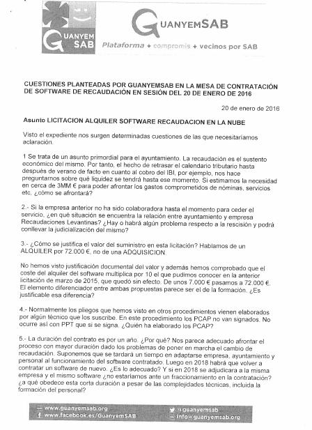 ESCRITO DUDAS CONTRATACION SOFTWARE RECAUDACION 20 ENERO 2016 - pag 1