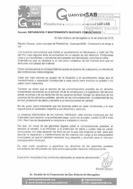 ESCRITO REPARACION BUZONES COMUNITARIOS MONTESANO 14 ENERO 2016