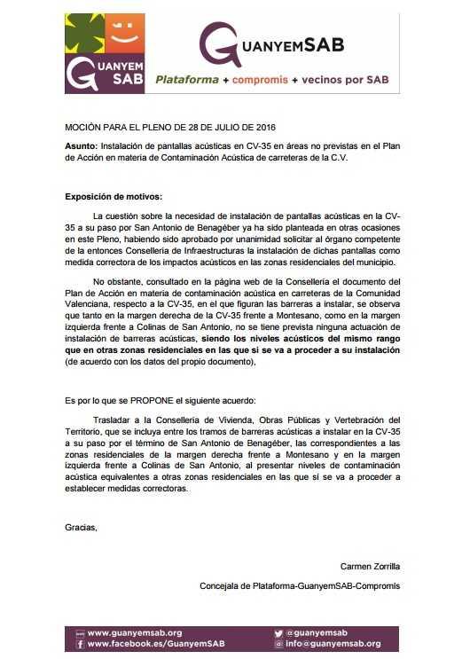 1.- MOCION PANTALLAS ACUSTICAS AMPLIACION