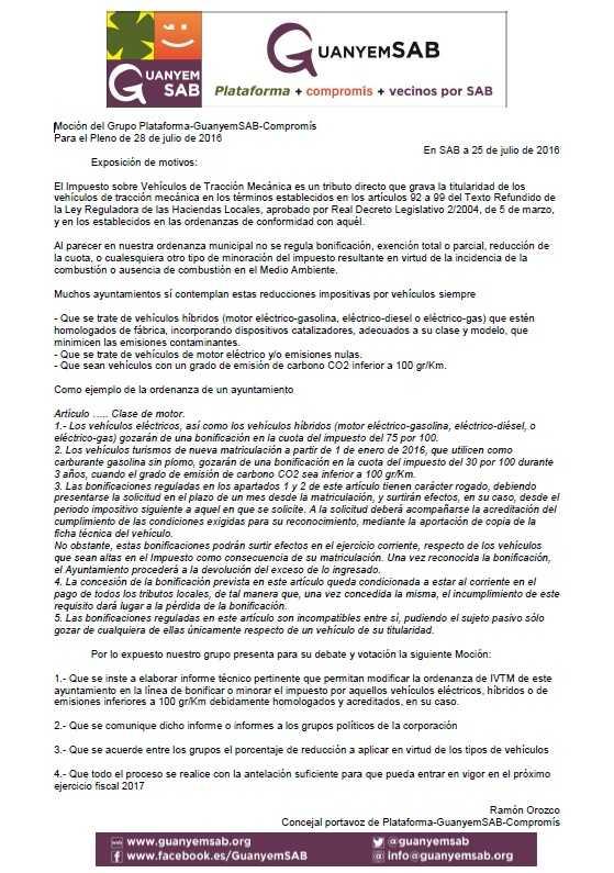 2.- MOCIÓN BONIFICACIÓN VEHÍCULOS SOSTENIBLES EN IVTM PARA 2017