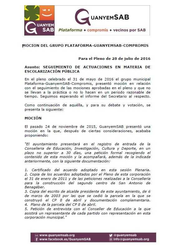 3.- MOCION ESTADO DE LAS SOLUCIONES ESCOLARES