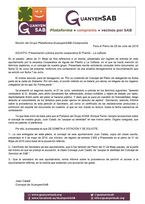 4.- MOCIÓN ESCRITO COOPERATIVA PLANTÍO-CAÑADA