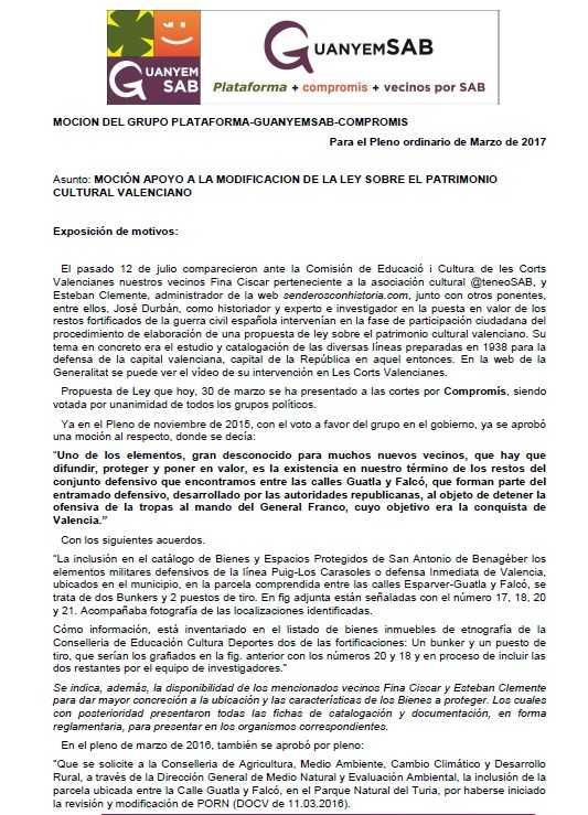 APOYO A LEY PATRIMONIO CULTURAL VALENCIANO pag 1