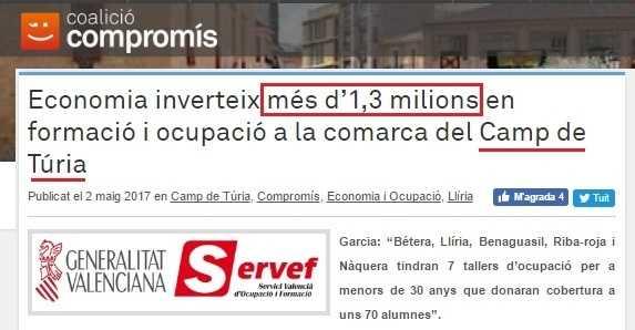 Compromís inversió comarca cabecera
