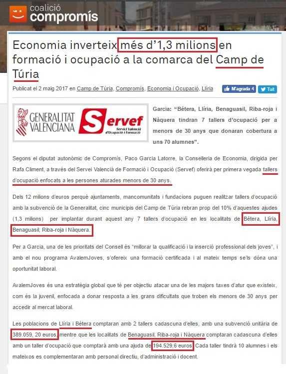 Compromís inversió comarca