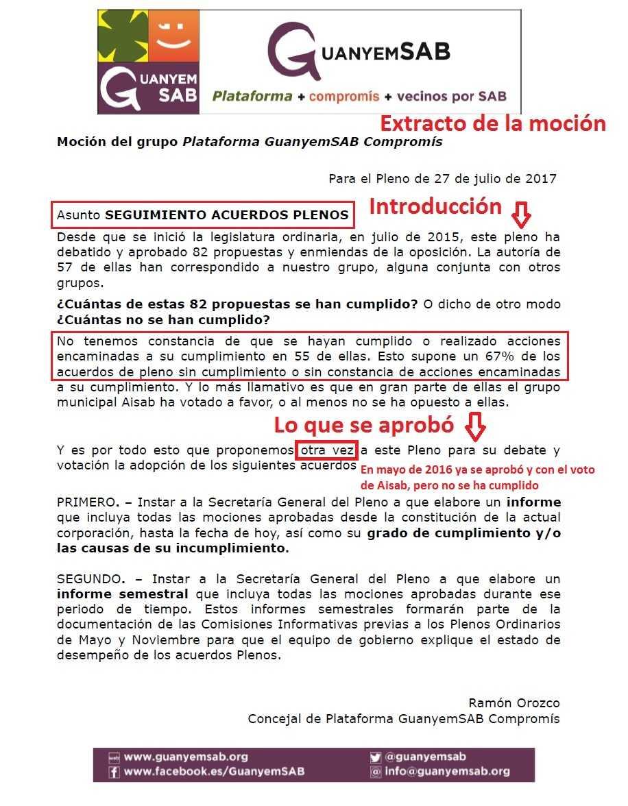 MOCION ACUERDOS DE PLENO extracto