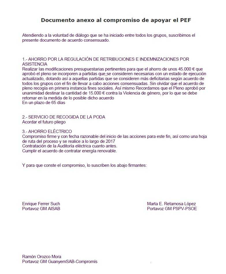 ACUERDO GUANYEMSAB GOBIERNO MPAL. ANEXO PEF 27 DE JULIO DE 2017